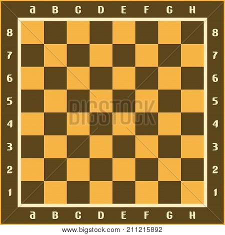 Vector illustration of classic chessboard, brown and yellow chess board with original letters and numbers, wooden checkerboard with empty squares top view for chess strategic game.