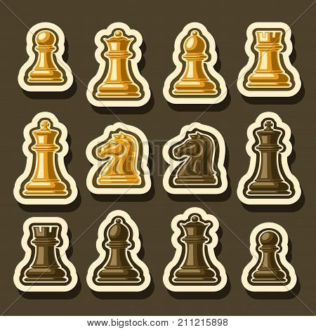 Vector set of Chess Pieces, collection of yellow and brown isolated wooden chess figures, classic king & queen, outline bishop and knight, glossy rook & pawn cutout pieces of different colors.