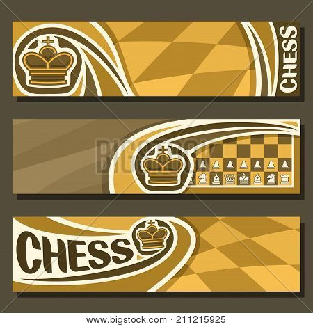 Vector banners for Chess game with copy space, in layouts headers yellow & brown curved checkerboard squares for title on chess theme, original font for word - chess, king on chessboard background.