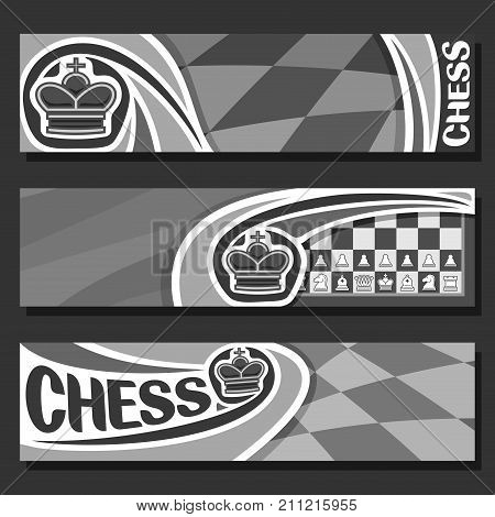 Vector monochrome banners for Chess game with copy space, in headers black & white curved checkerboard squares for title on chess theme, original font for word - chess, king on chessboard background.