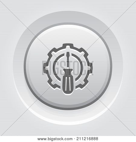Fine Tuning Icon. Gear and Screwdriver. Service Symbol. Flat Line Pictogram. Isolated on white background. Grey Button Design.