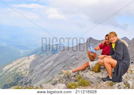 The couple on Scola peak after long climb on Olympus.