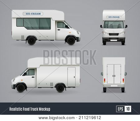 Food trucks realistic ad template mockup set with isolated views of wagon commercial vehicle with shadows vector illustration