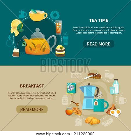 Horizontal banners with tea time and breakfast isolated on green and beige background flat vector illustration