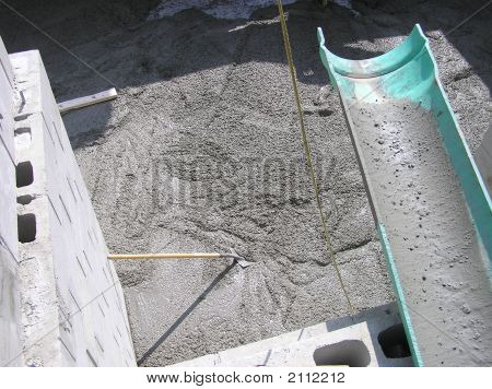 Pouring Fresh Concrete from Chute