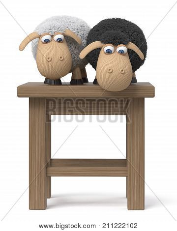3d illustration sheep playing hide and seek