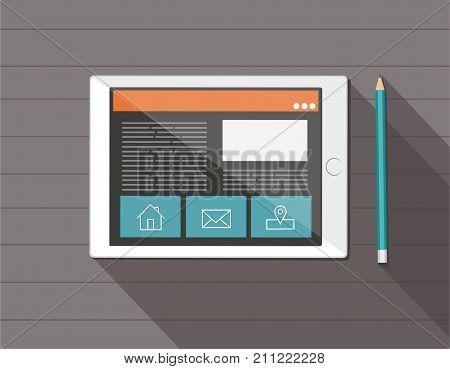Responsive web design on a digital tablet. Flat vector design style concept.