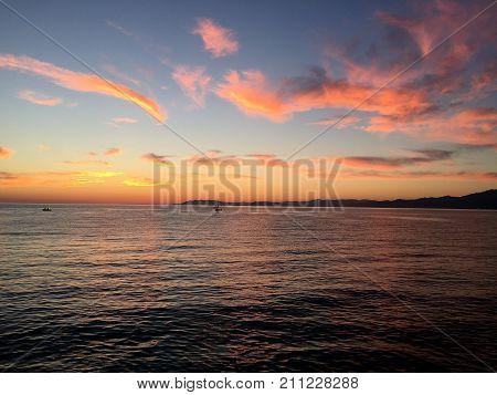 Orange Sunrise in Viareggio north of Italy
