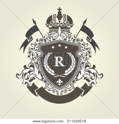 Imperial royal coat of arms - heraldic blazon with shield and crown