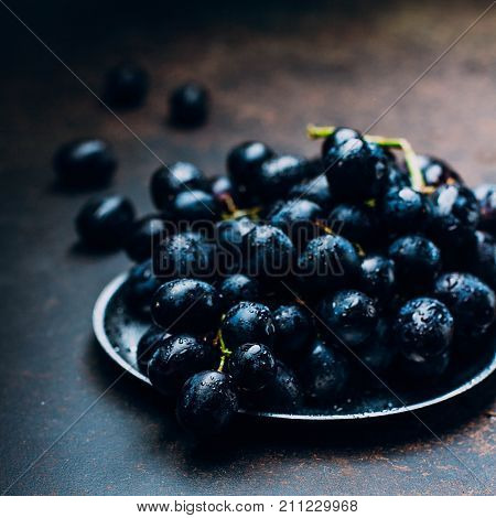 Bunches Of Fresh Ripe Red Grapes On A Metal Tray Textural Table Background. Dark Grapes, Blue Grapes