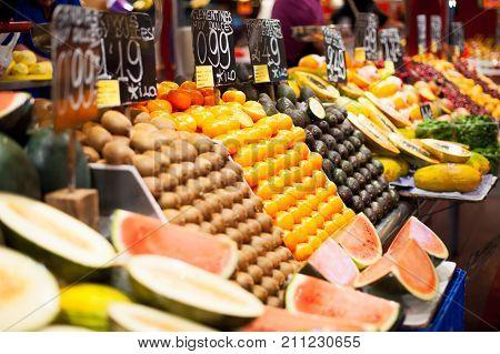 Barcelona, Catalonia, Spain - May 14, 2012 : Fruits stalls in la Boqueria covered market