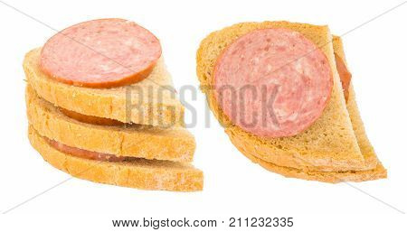 Sausage bap or bread roll. Isolated on white