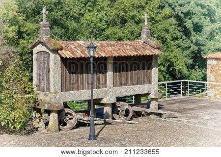 Traditional granary alongside the Camino de Santiago, Portugal