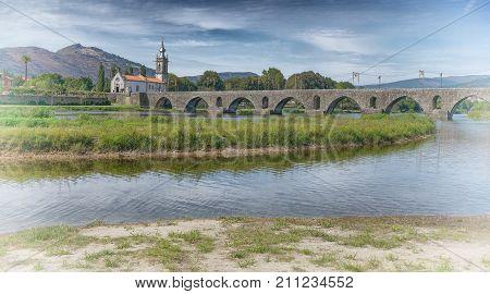 Roman bridge crossing the Rio Lima in Ponte de Lima; Camino de Santiago; Portugal