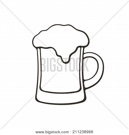 Vector illustration. Hand drawn doodle of a mug of beer with foam. Glass of alcohol drink. Classic foam drink of pubs and bars. Cartoon sketch. Isolated on white background