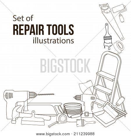 Set of building repair tools line cartoon illustration of repair tools. Vector