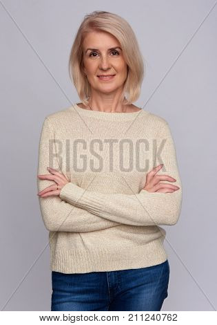 Casual Old Woman Smiling Isolated