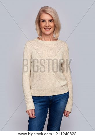 Casual Smiling Pretty Old Woman Isolated