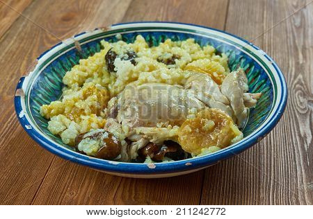 Tunisian Dried Fruit, Chicken Pilaf