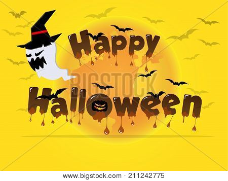Happy Halloween wording with meal chocolate font. Yellow Halloween theme with Jack O Lantern on the moon background that provides empty space for text at the bottom.