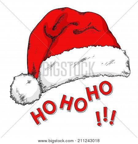 Cartoon Santa's hat isolated on white. Hand drawn doodle santa acsessory