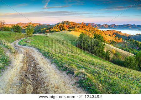 Stunning autumn nature with misty landscape, Holbav village, Carpathians, Transylvania, Romania, Europe