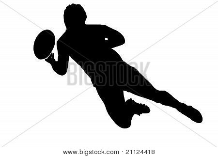 Sport Silhouette - Rugby Football Scrumhalf Passing Ball
