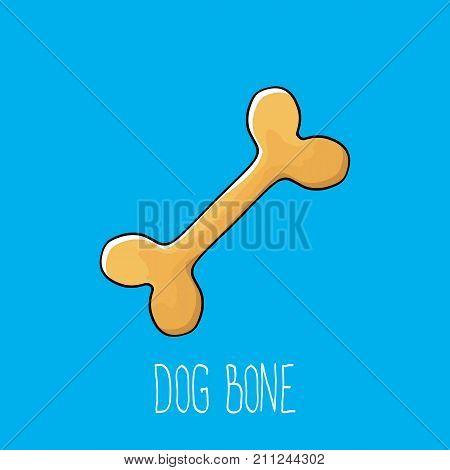 vector funny cartoon cute brown dog bone isolated on blue background. bone label design element.