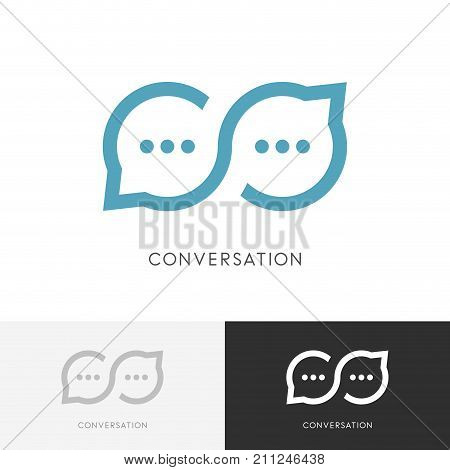 Infinity conversation logo - endless chat or good talk symbol. Constructive dialogue, discussion and business communication vector icon.
