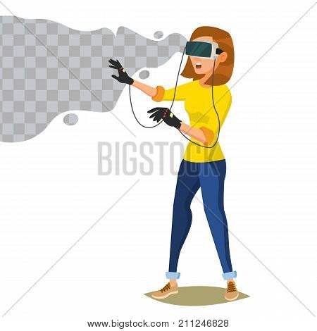 Virtual Reality Vector. Wear Virtual Reality Digital Glasses Headset. Emotions From VR Cyberspace Concept. Isolated On White Cartoon Character Illustration
