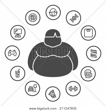 Causes Of Obesity, Obesity Concept, Healthy And Lifestyle Concept, Contains Such Icons As Food, Drin
