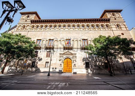 View on the old Luna palace in Zaragoza city during the sunny day in Spain