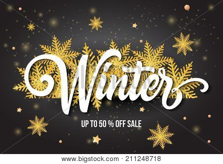 Winter up to Fifty Percent off Sale lettering with golden snowflakes. Handwritten and typed text, calligraphy. For posters, banners, leaflets and brochures.