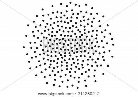 Background with irregular, chaotic dots, points, circle. Abstract monochrome pattern. Black and white color. Vector illustration Memphis style Random halftone. Pointillism