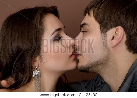 sexy Young Couple Before Kiss Isolated On White