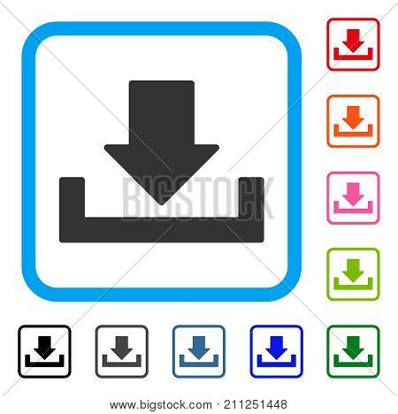 Download icon. Flat grey iconic symbol inside a blue rounded frame. Black, gray, green, blue, red, orange color variants of Download vector. Designed for web and software UI.