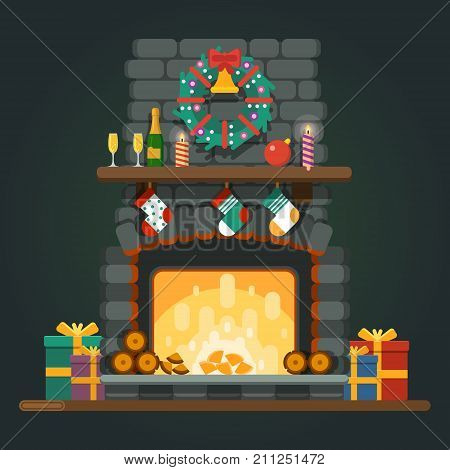 Merry Christmas home interior with a fireplace colorful boxes with gifts candles Santa Claus hat decorations. New Year and Christmas. Vector illustration
