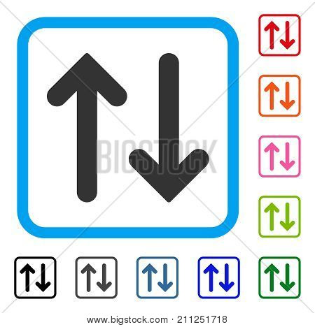 Flip Vertical icon. Flat grey pictogram symbol in a blue rounded rectangular frame. Black, gray, green, blue, red, orange color additional versions of Flip Vertical vector.