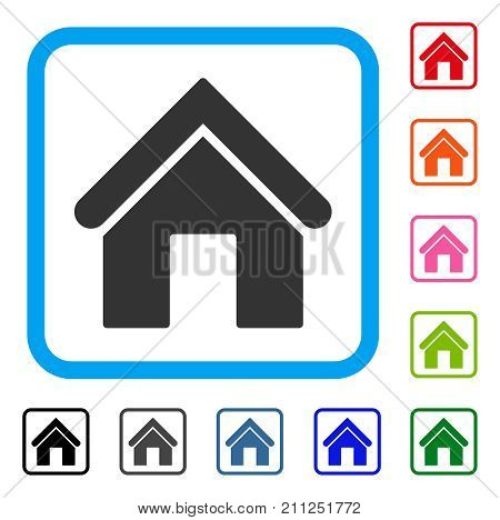 Home icon. Flat gray iconic symbol in a blue rounded rectangular frame. Black, gray, green, blue, red, orange color versions of Home vector. Designed for web and software interfaces.