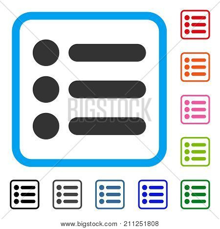 Items icon. Flat gray pictogram symbol in a blue rounded rectangle. Black, gray, green, blue, red, orange color versions of Items vector. Designed for web and software UI.