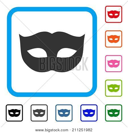 Privacy Mask icon. Flat grey pictogram symbol in a blue rounded squared frame. Black, gray, green, blue, red, orange color additional versions of Privacy Mask vector.