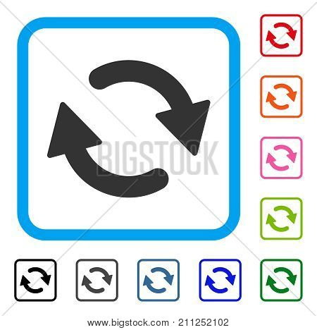 Refresh icon. Flat gray iconic symbol in a blue rounded squared frame. Black, gray, green, blue, red, orange color additional versions of Refresh vector. Designed for web and software interfaces.