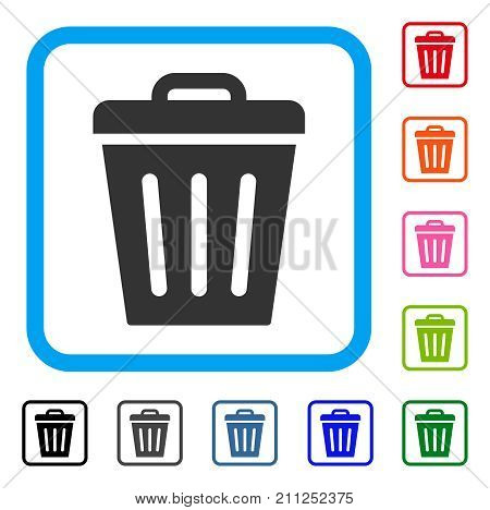 Trash Can icon. Flat gray iconic symbol inside a blue rounded frame. Black, gray, green, blue, red, orange color variants of Trash Can vector. Designed for web and app UI.