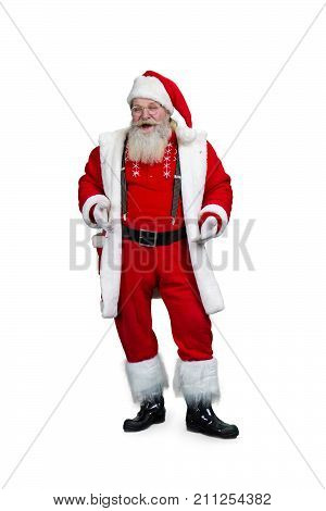 Authentic Santa Claus, studio shot. Happy Santa Claus in eyeglasses isolated on white background. Cheerful bearded Santa Claus.