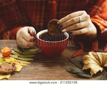 Woman holds cup of warm tea and cookie on the autumnal background. Delights of the fall. Disease prevention