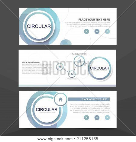 Blue circle corporate business banner template horizontal advertising business banner layout template flat design set clean abstract cover header background for website design