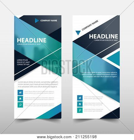 Blue roll up business brochure flyer banner design cover presentation abstract geometric background modern publication x-banner and flag-banner layout in rectangle size.