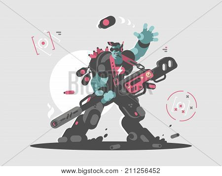 Alien character military invader of future with weapons. Vector illustration