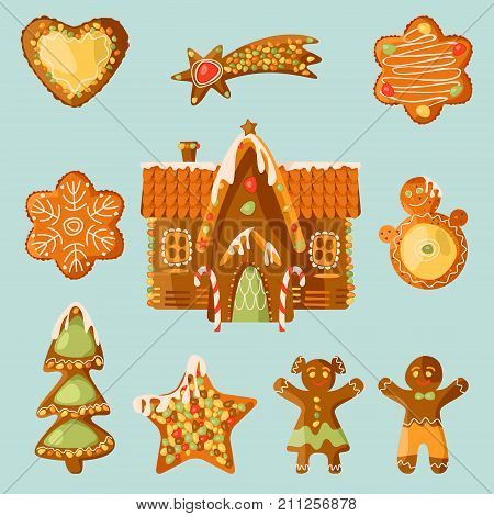 Gingerbread house and 9 festive Gingerbread Cookies. Christmas tradition. Vector illustration