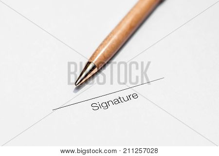 Signing contract, legal system, signature with pen